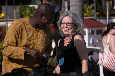 Bright Simons, Coordinator of the mPedigree Network, IMANI-Ghana, with Sally Anderson, SNS/FiRe Editor-in-Chief and Production Manager