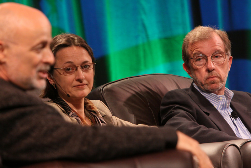 """FiRe CTO Design Challenge"": (L-R) Author, physicist, and host David Brin; Sophie Vandebroek, CTO, Xerox, and President, Xerox Innovation Group; and Eric Openshaw, Vice Chair and U.S. Technology Leader, Deloitte"