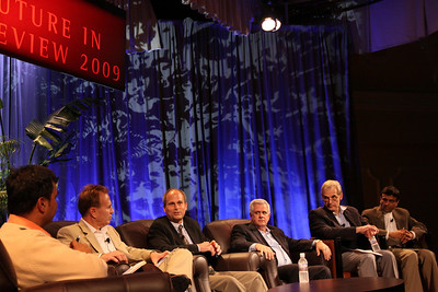 """The Future of Wireless Broadband"": (L-R) Host Chetan Sharma, President, Chetan Sharma Consulting; Fred Kitson, CVP, Motorola; Chris Pearson, President, 3G Americas; David Achim, President and COO, SkyFiber; Hugh Bradlow, CTO, Telstra; and Rama Shukla, Intel"
