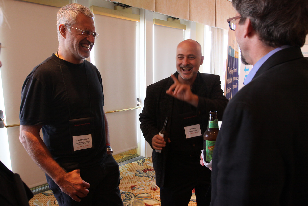 "(L-R) Louie Psihoyos, Director and Filmmaker, ""The Cove""; David Brin, Author and Physicist; and Russ Daggatt, Founding Partner, Denny Hill Capital"