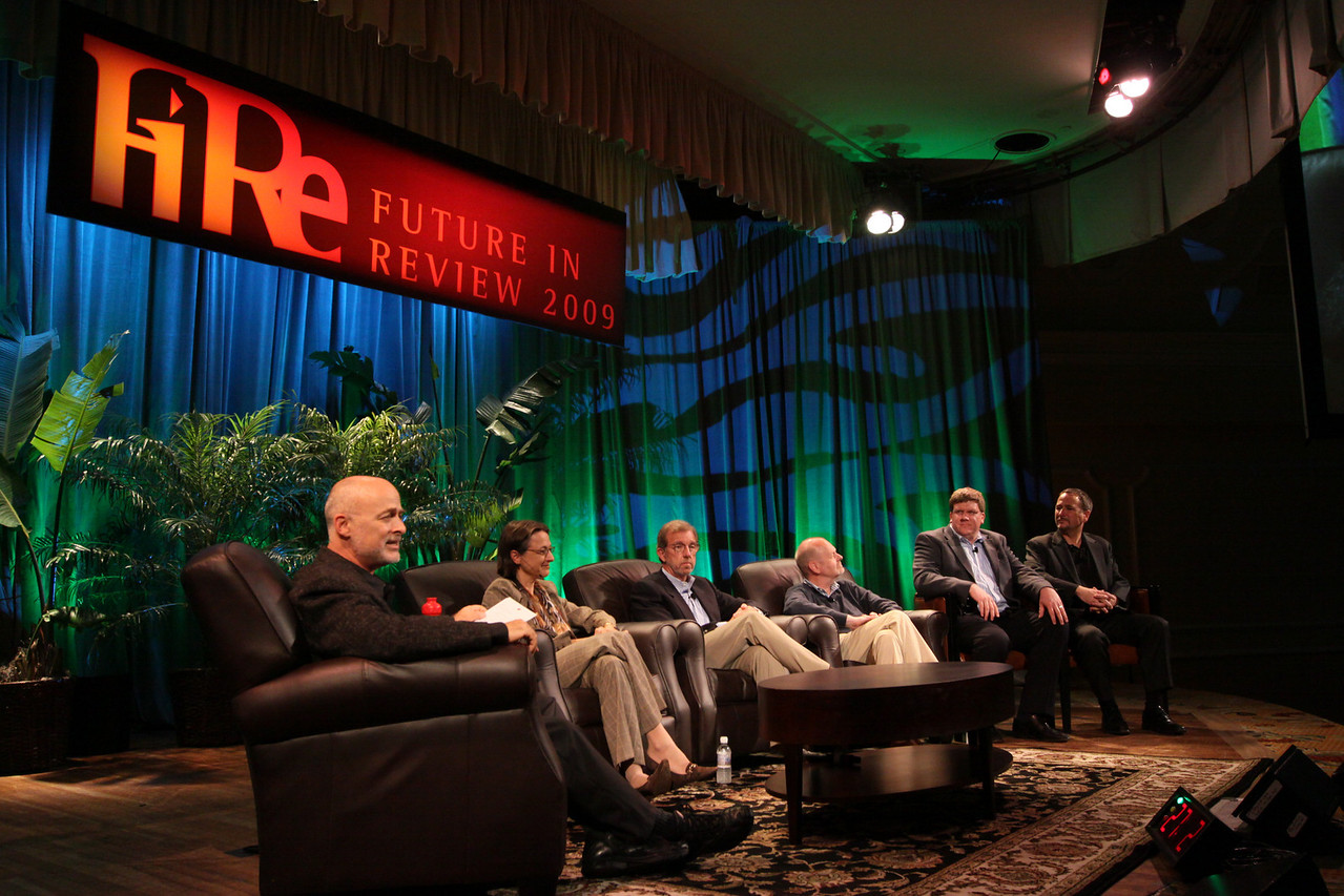 """""""FiRe CTO Design Challenge"""": (L-R) Author, physicist, and host David Brin; Sophie Vandebroek, CTO, Xerox, and President, Xerox Innovation Group; Eric Openshaw, Vice Chair and U.S. Technology Leader, Deloitte; Per-Kristian (Kris) Halvorsen, SVP and Chief Innovation Officer, Intuit; Ty Carlson, Architect, SiArch Group, Microsoft; and Joe Burton, CTO, Cisco"""