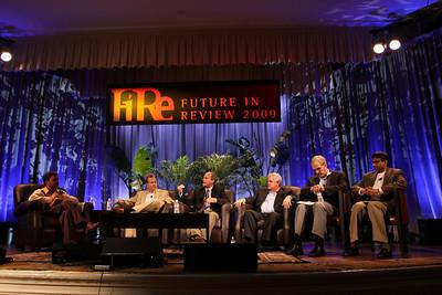 """The Future of Wireless Broadband"": (L-R) Host Chetan Sharma, President, Chetan Sharma Consulting; Fred Kitson, CVP, Motorola; Chris Pearson, President, 3G Americas; David Achim, President and COO, SkyFiber; Hugh Bradlow, CTO, Telstra; and Rama Shukla, Intel"