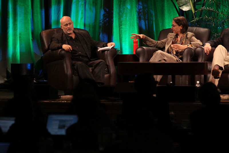 """""""FiRe CTO Design Challenge"""": Author, physicist, and host David Brin; and Sophie Vandebroek, CTO, Xerox, and President, Xerox Innovation Group"""