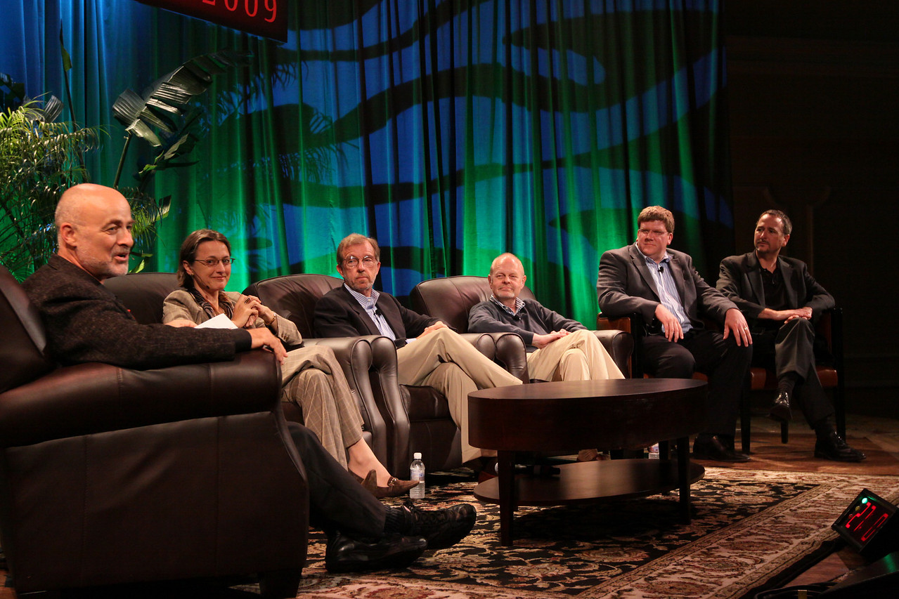"""FiRe CTO Design Challenge"": (L-R) Author, physicist, and host David Brin; Sophie Vandebroek, CTO, Xerox, and President, Xerox Innovation Group; Eric Openshaw, Vice Chair and U.S. Technology Leader, Deloitte; Per-Kristian (Kris) Halvorsen, SVP and Chief Innovation Officer, Intuit; Ty Carlson, Architect, SiArch Group, Microsoft; and Joe Burton, CTO, Cisco"
