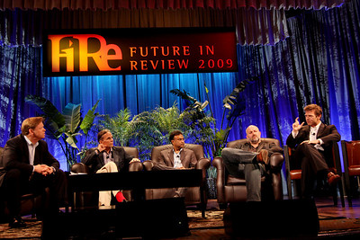 """""""Clouds 2.0: Utility Computing for Consumers and the Enterprise"""" (L-R): Host John Thompson, CEO, Kognitio; Russ Daniels, VP and CTO, Hewlett-Packard; Amitabh Srivastava, SVP, Microsoft; Werner Vogels, CTO and VP, Amazon.com; and Rowan Trollope, SVP, Symantec"""