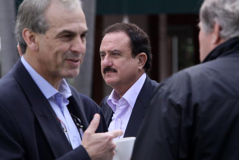 Hugh Bradlow (L), CTO, Telstra; Sol Trujillo, past CEO, Telstra; and Phil Scanlan, Consul-General, Australian Consulate-General (New York)
