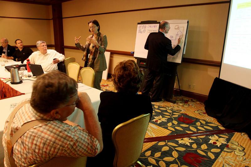 "Breakout session: ""CTO Design Challenge"": Jerry Woodall (Purdue University) in foreground, Sophie Vandebroek (Xerox) speaking, Joe Sterling scribing"