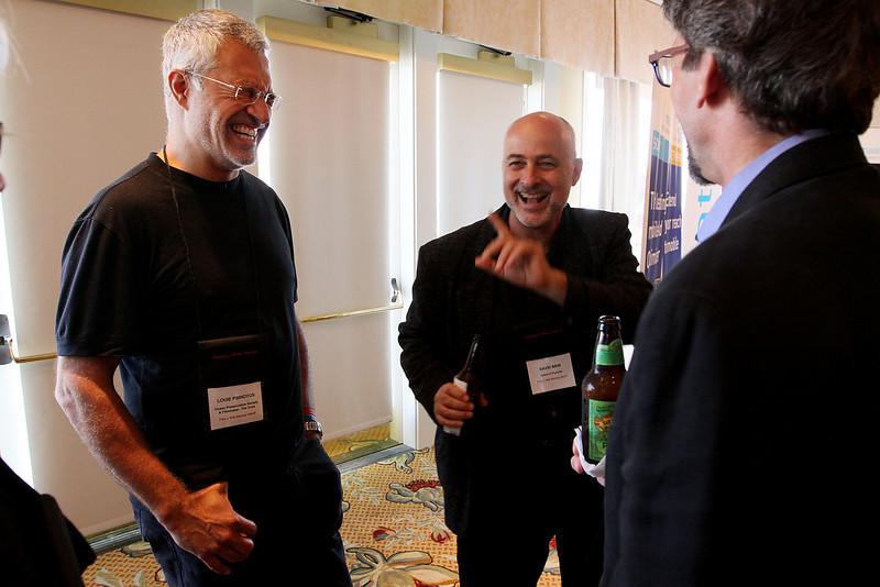 FiReStarters Exhibition (L-R): Louie Psihoyos, David Brin, and Russ Daggatt