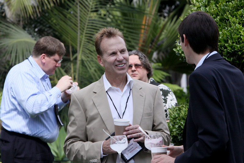 Breaktime with palms, L-R: Ty Carlson (Microsoft), Fred Kitson (Motorola), Simon Bisson (U.K. Journalist), Georg Kopetz (TTTech Computertechnik AG)