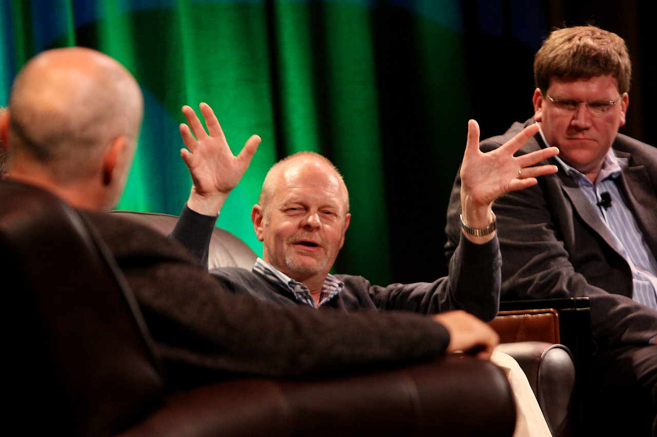 """FiRe CTO Design Challenge: """"Water Beyond Tomorrow: Using Technology and Innovation to Provide San Diego (and the World) with Adequate Safe Water for Future Decades"""": Host, author, and physicist David Brin (L); Kris Halvorsen, SVP and Chief Innovation Officer, Intuit; and Ty Carlson, Architect, SiArch Group, Microsoft"""