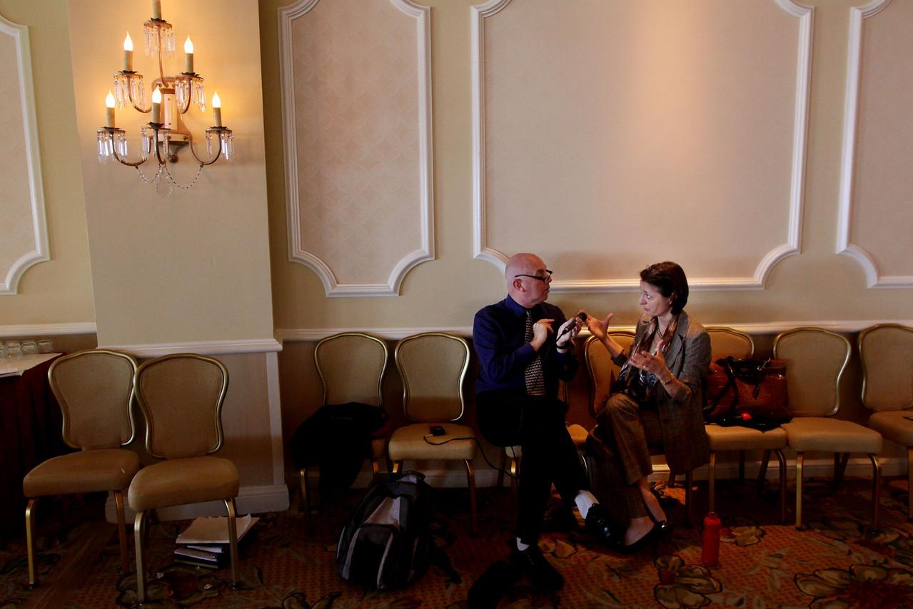 Stephen Evans, BBC, and Sophie Vandebroek, Xerox, in between times in the Del's Grand Ballroom