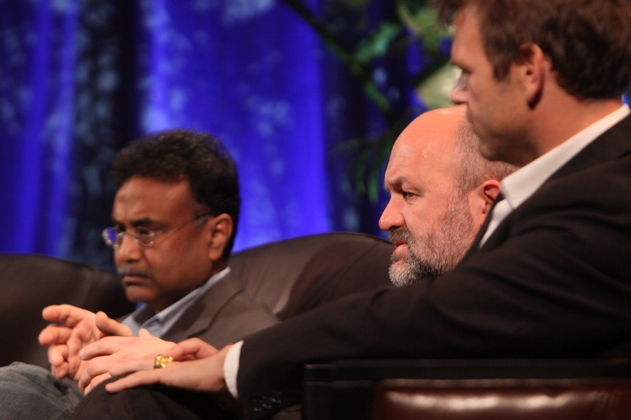 """Clouds 2.0: Utility Computing for Consumers and the Enterprise"": (L-R) Amitabh Srivastava, SVP, Microsoft; Werner Vogels, CTO and VP, Amazon.com; and Rowan Trollope, SVP, Symantec"