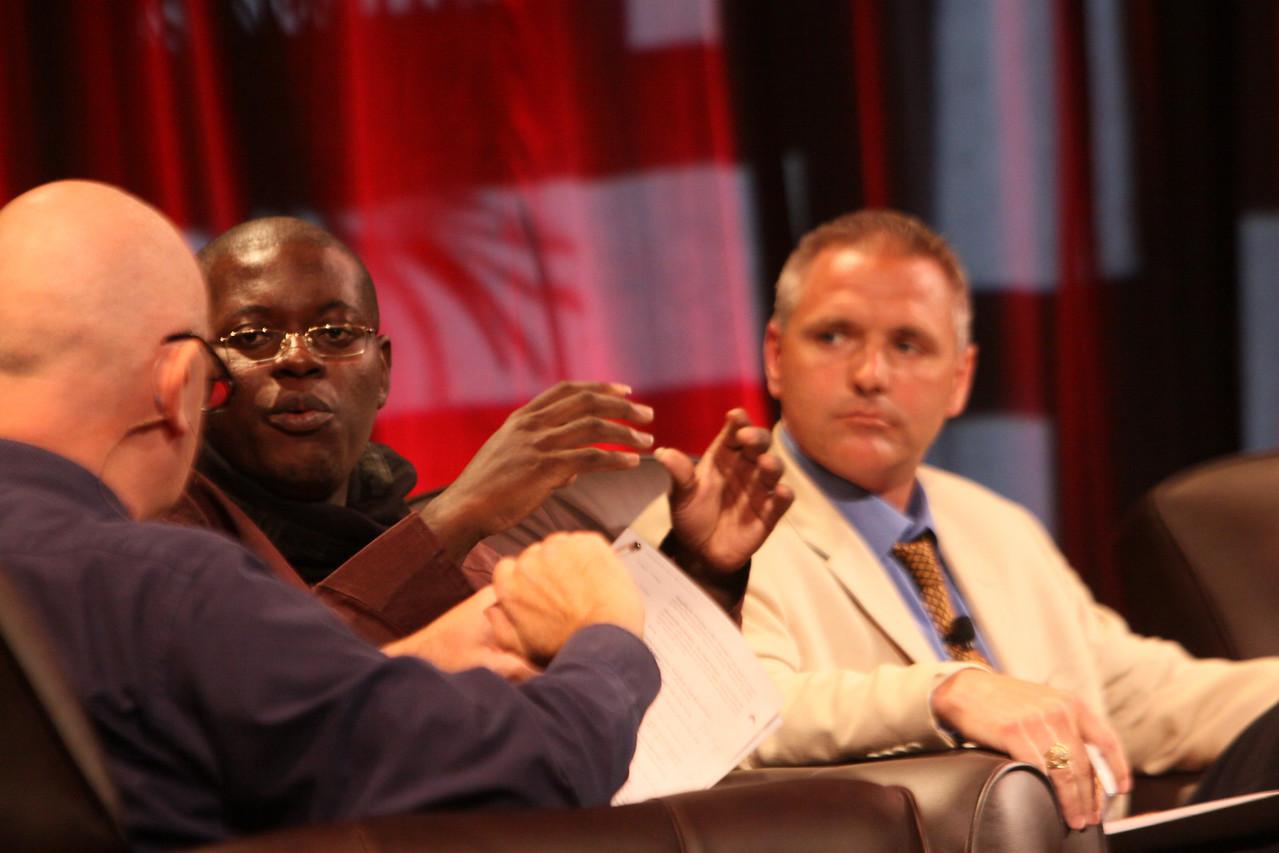 """HOTSPOTS I: Five Personal Views of the Future"": (L-R) Moderator Steve Evans, Business Daily presenter, BBC World Service; Bright Simons, mPedigree Network, IMANI-Ghana; and Troy Cross, Vlingo"