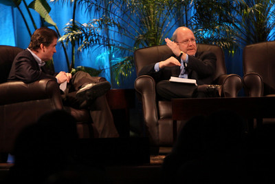 """""""Shaping the Rebound: A How-To Guide"""": John Hagel (R), Director and Co-Chair, Deloitte Center for Edge Innovation; with host Bill Phelps, Executive Director of Technology Consulting, Accenture"""
