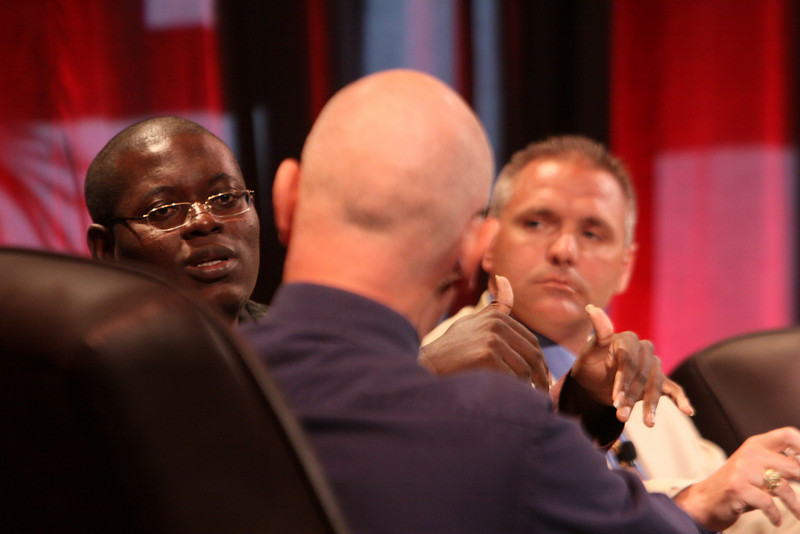 """HOTSPOTS I: Five Personal Views of the  Future"": (L-R) Bright Simons, mPedigree Network, IMANI-Ghana; moderator Steve Evans, Business Daily presenter, BBC World Service; and Troy Cross, Vlingo"