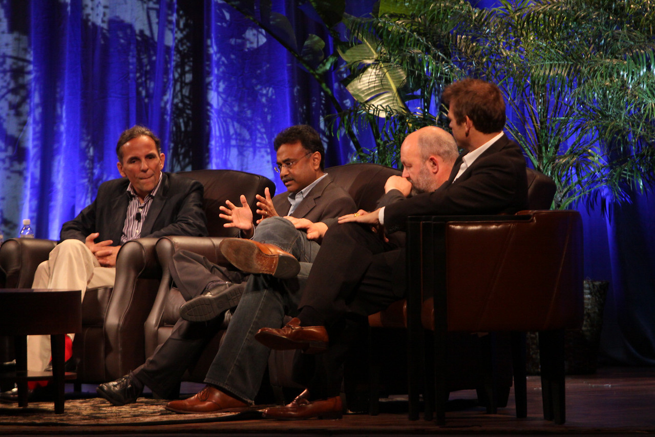 """Clouds 2.0: Utility Computing for Consumers and the Enterprise"": (L-R) Russ Daniels, VP and CTO, Hewlett-Packard; Amitabh Srivastava, SVP, Microsoft; Werner Vogels, CTO and VP, Amazon.com; and Rowan Trollope, SVP, Symantec"