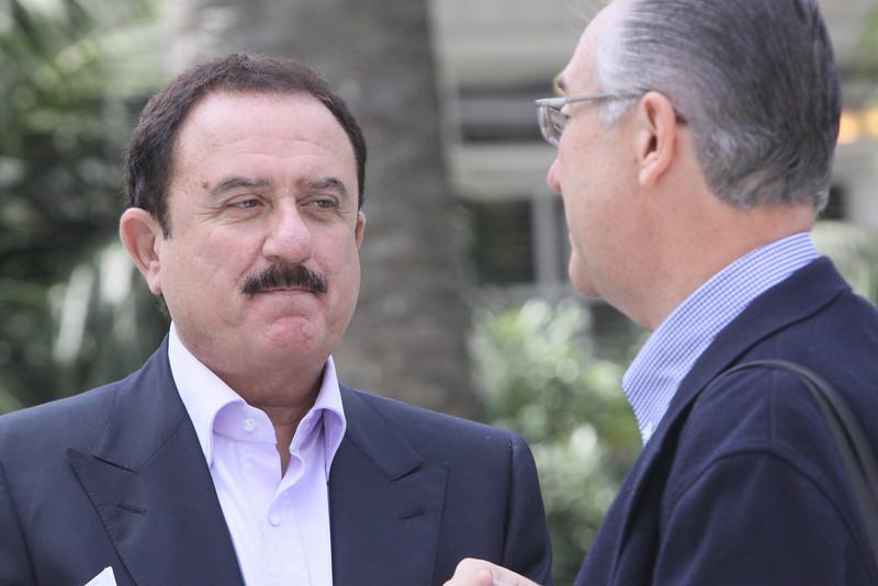Sol Trujillo (L), past CEO, Telstra; and Ricardo Salinas, CEO, Grupo Salinas