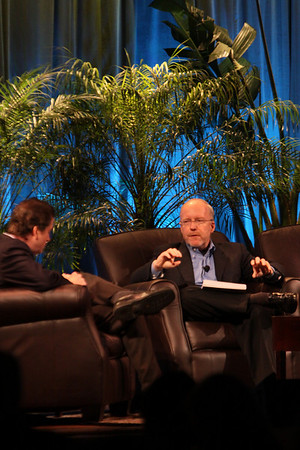 """Shaping the Rebound: A How-To Guide"": John Hagel (R), Director and Co-Chair, Deloitte Center for Edge Innovation; with host Bill Phelps, Executive Director of Technology Consulting, Accenture"