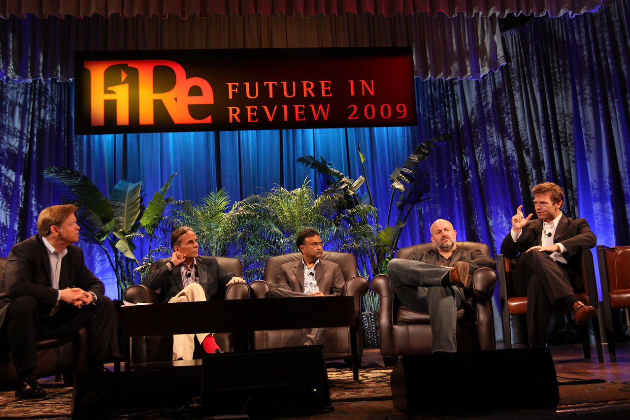 """Clouds 2.0: Utility Computing for Consumers and the Enterprise"": (L-R) Host John Thompson, CEO, Kognitio; Russ Daniels, VP and CTO, Hewlett-Packard; Amitabh Srivastava, SVP, Microsoft; Werner Vogels, CTO and VP, Amazon.com; and Rowan Trollope, SVP, Symantec"