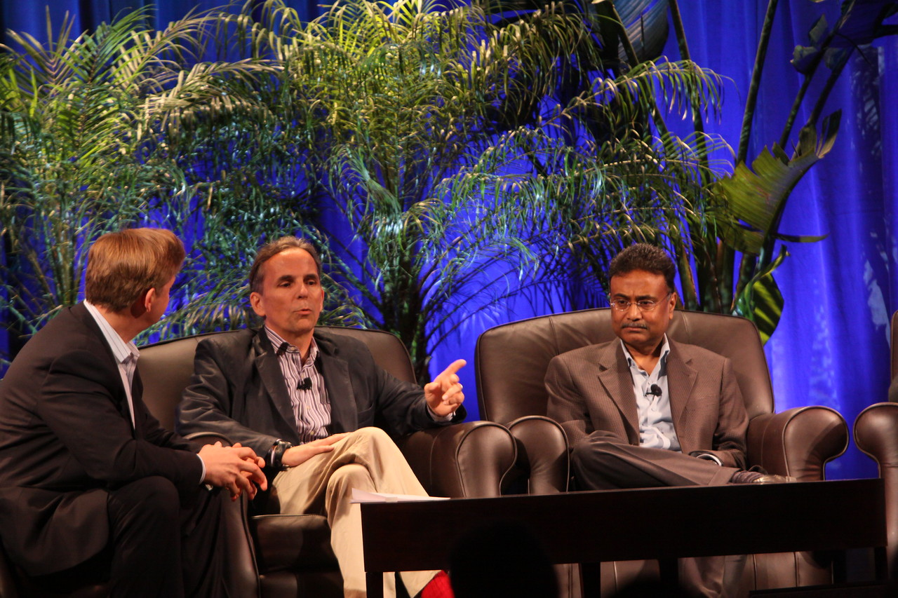 """Clouds 2.0: Utility Computing for Consumers and the Enterprise"": (L-R) Host John Thompson, CEO, Kognitio; Russ Daniels, VP and CTO, Hewlett-Packard; and Amitabh Srivastava, SVP, Microsoft"