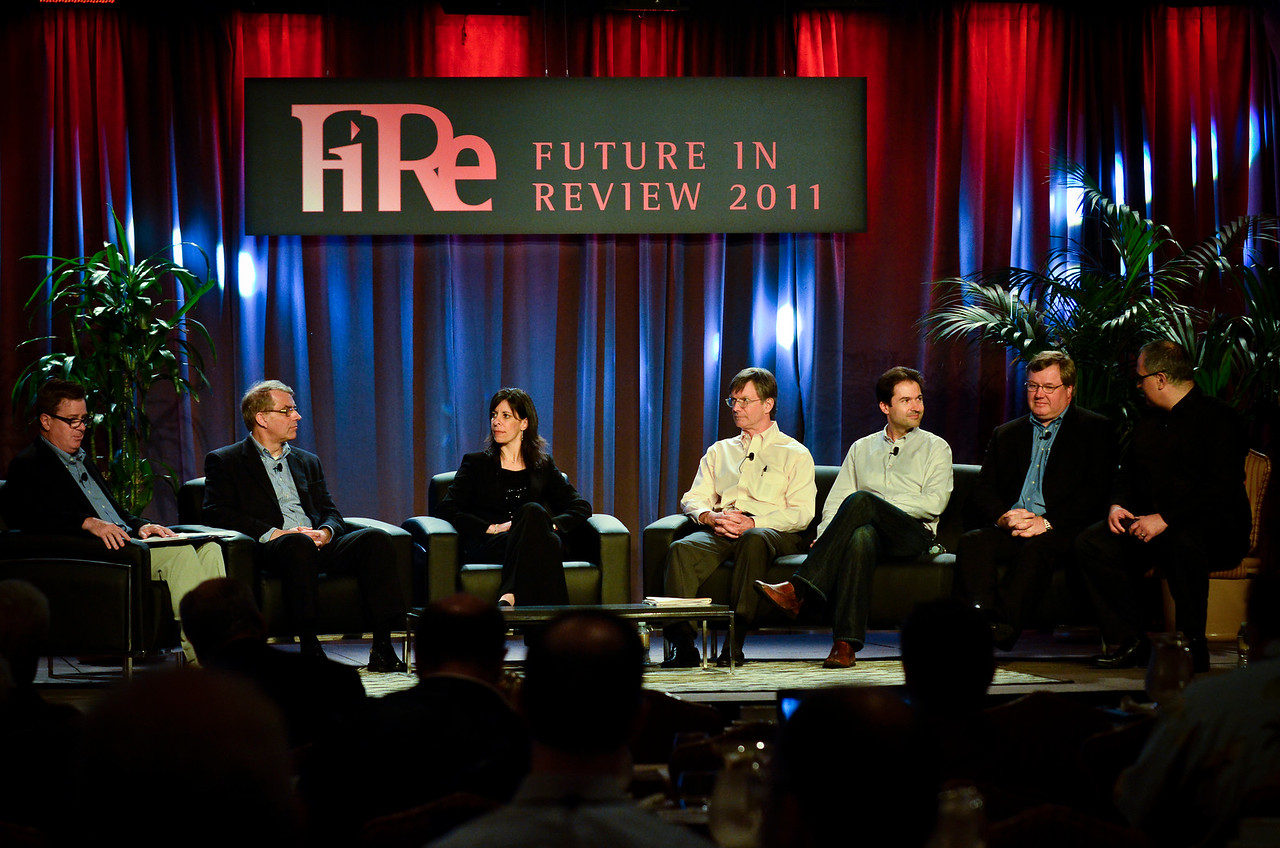 """""""Privacy Protection: The Consumer Side of Security"""": (L-R) Jonathan Ewert, Michael Buhrmann, Kristy Edwards, Tom Malloy, Sim Simeonov, Steven Sprague, and Marc Davis.  At the Montage Resort in Laguna Beach, CA, 200 thought leaders - high technology engineers and executives, entrepreneurs, scientists, and media professionals - gathered for 3-1/2 days to participate in the Future in Review (FiRe) 2011 conference presented by the Strategic News Service and led by SNS founder and technology visionary Mark Anderson. Interviews, panel discussions, and informal conversations ranged from cybersecurity to CO2 and climate change, China and IP, healthcare policy, medical diagnostics, and global economics."""