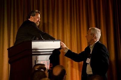 Mark Anderson, CEO, Strategic News Service, gives special thanks to Don Budinger, Chair and Founder, the Rodel Foundations.  At the Montage Resort in Laguna Beach, CA, 200 thought leaders - high technology engineers and executives, entrepreneurs, scientists, and media professionals - gathered for 3-1/2 days to participate in the Future in Review (FiRe) 2011 conference presented by the Strategic News Service and led by SNS founder and technology visionary Mark Anderson. Interviews, panel discussions, and informal conversations ranged from cybersecurity to CO2 and climate change, China and IP, healthcare policy, medical diagnostics, and global economics.