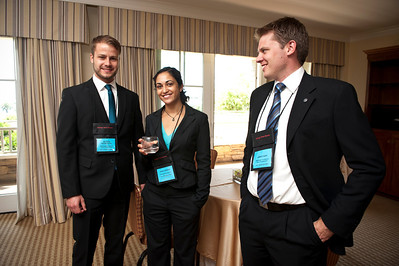 (L-R) FiRe/Rodel/Thunderbird interns Severin Nesselhauf, Shinu Thomas, and James Fazio.  At the Montage Resort in Laguna Beach, CA, 200 thought leaders - high technology engineers and executives, entrepreneurs, scientists, and media professionals - gathered for 3-1/2 days to participate in the Future in Review (FiRe) 2011 conference presented by the Strategic News Service and led by SNS founder and technology visionary Mark Anderson. Interviews, panel discussions, and informal conversations ranged from cybersecurity to CO2 and climate change, China and IP, healthcare policy, medical diagnostics, and global economics.