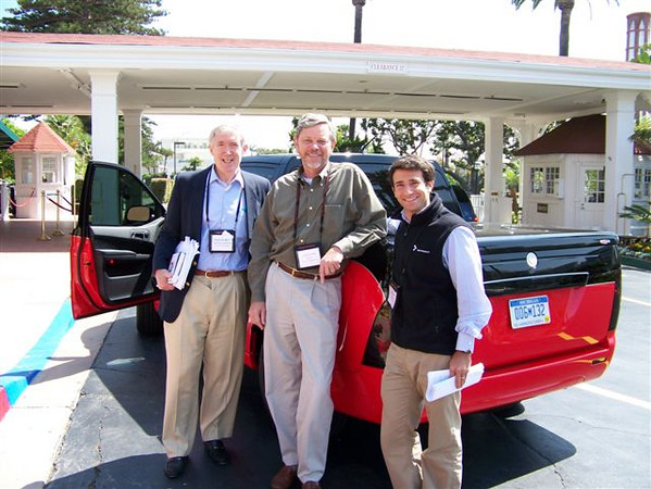 Happy guys (l-r): Bob Hormats, Altairnano CEO Alan Gotcher, and Josh Wolfe, with an electric truck by Altairnano.
