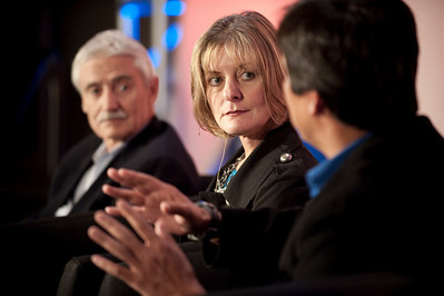 """A Revolution in Diagnostics"": (L-R): Lee Hartwell, Nobel Laureate and President and Director, Fred Hutchinson Cancer Research Center; Nancy Stagliano, CytomX Therapeutics; and Yulun Wang, Chair and CEO, InTouch Health"