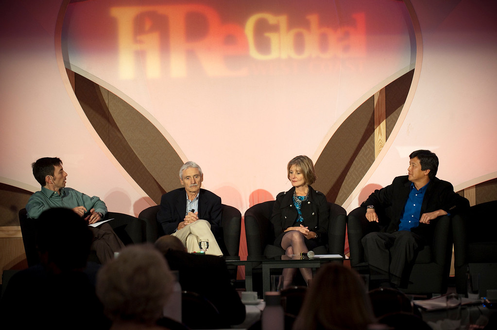 """""""A Revolution in Diagnostics"""": (L-R): Host Keith Seinfeld, Health and Science Reporter, KPLU-FM; Lee Hartwell, Nobel Laureate and President and Director, Fred Hutchinson Cancer Research Center; Nancy Stagliano, CytomX Therapeutics; and Yulun Wang, Chair and CEO, InTouch Health"""