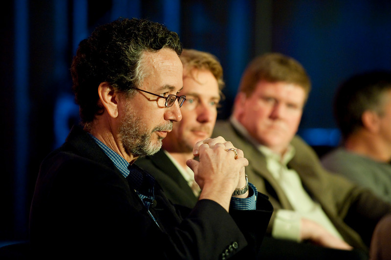 CTO Design Challenge I: (L-R) Dennis Adler, CTO, MetaJure Inc.; Tom Wesselman, CTO, Unified Communications, Cisco; panel leader Ty Carlson, Architect, SiArch, Microsoft; and Martin Tobias, Founder and CEO, Kashless Inc.