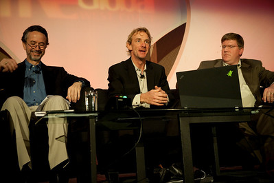 CTO Design Challenge I: (L-R) Dennis Adler, CTO, MetaJure Inc.; Tom Wesselman, CTO, Unified Communications, Cisco; and panel leader Ty Carlson, Architect, SiArch, Microsoft