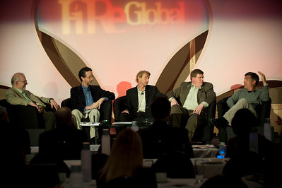 CTO Design Challenge I: (L-R) Host Greg Bear, Science Fiction Author; Dennis Adler, CTO, MetaJure Inc.; Tom Wesselman, CTO, Unified Communications, Cisco; panel leader Ty Carlson, Architect, SiArch, Microsoft; and Martin Tobias, Founder and CEO, Kashless Inc.