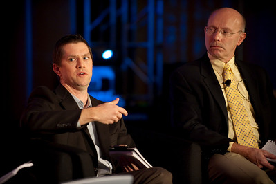 CTO Design Challenge II: Joe Heitzeberg (L), VP, Engineering, Whitepages; and Bill Schrier, CTO, City of Seattle