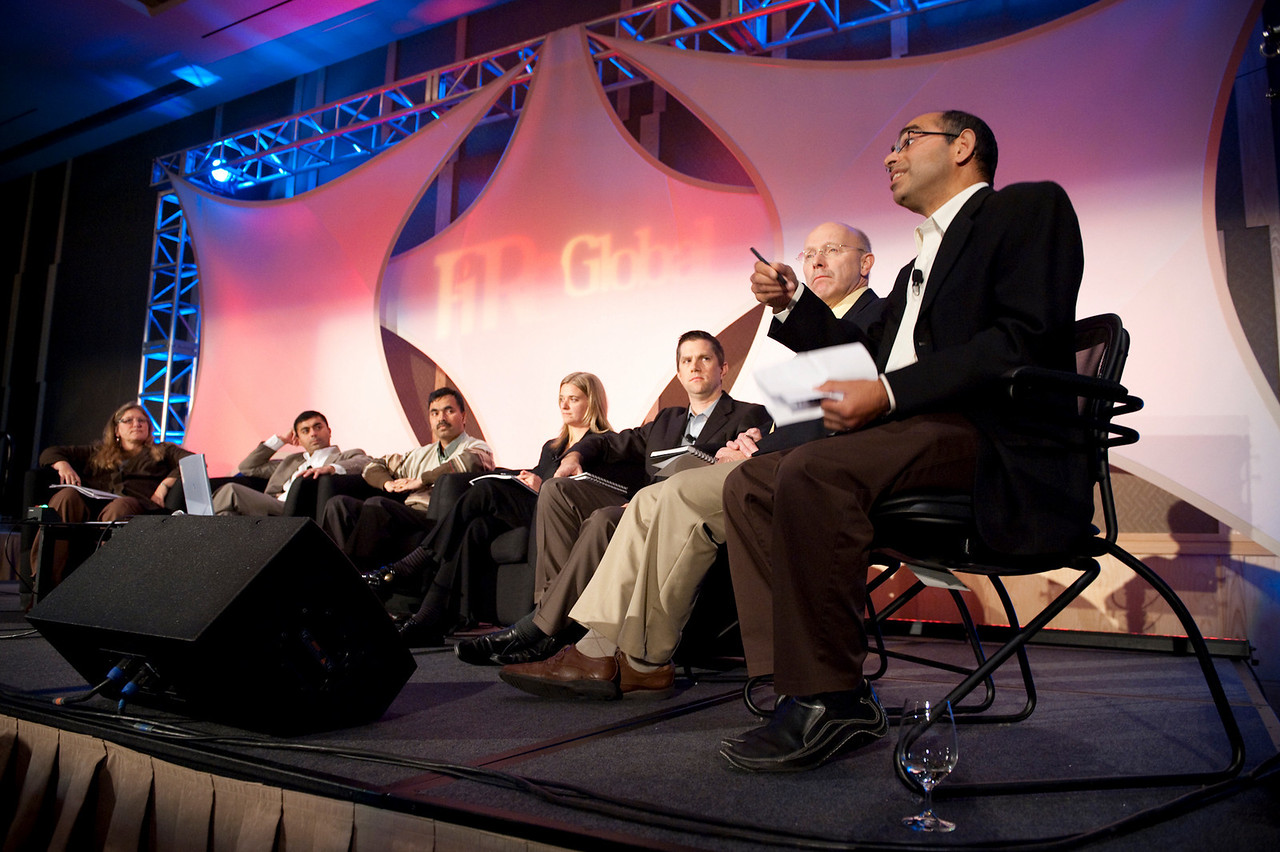 CTO Design Challenge II: (L-R) Host Brenda Cooper, Science Fiction Author and CIO, City of Kirkland; Sajal Sahay, Executive Director Marketing, Devices Innovation, T-Mobile USA; panel leader Chetan Sharma, President, Chetan Sharma Consulting; Tricia Duryee, Principal Correspondent, mocoNews; Joe Heitzeberg, VP, Engineering, Whitepages; Bill Schrier, CTO, City of Seattle; and Sailesh Chutani, Senior Director, Windows Mobile, Microsoft