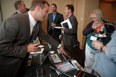 FiReStar Exhibition: Tesla Motors is visited by Sen. Kevin Ranker (center), 40th Legislative District, Washington State Senate; Nick Eaton, Reporter, SeattlePI.com; and Mary Branscombe, Independent Journalist (U.K.)