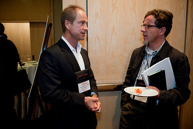 FiReStar Reception: Patrick Sullivan (L), CEO and President of FiReStar company Hoana Medical; and Nick Eaton, Reporter, SeattlePI.com
