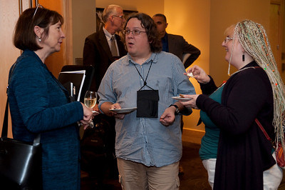 FiReStar Reception: (L-R) Christine Thompson, Principal, Informing Arts; and Simon Bisson and Mary Branscombe, Independent Journalists (U.K.)
