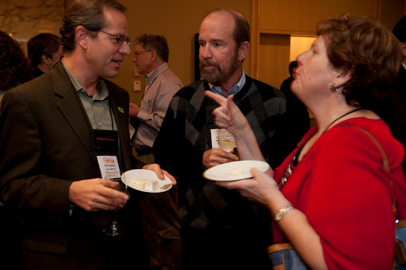 FiReStar Reception: (L-R) Kevin Surace, CEO of FiReStar company Serious Materials; Forest Baskett, General Partner, New Enterprise Associates; and Janis Machala, Director of LaunchPad Services, University of Washington