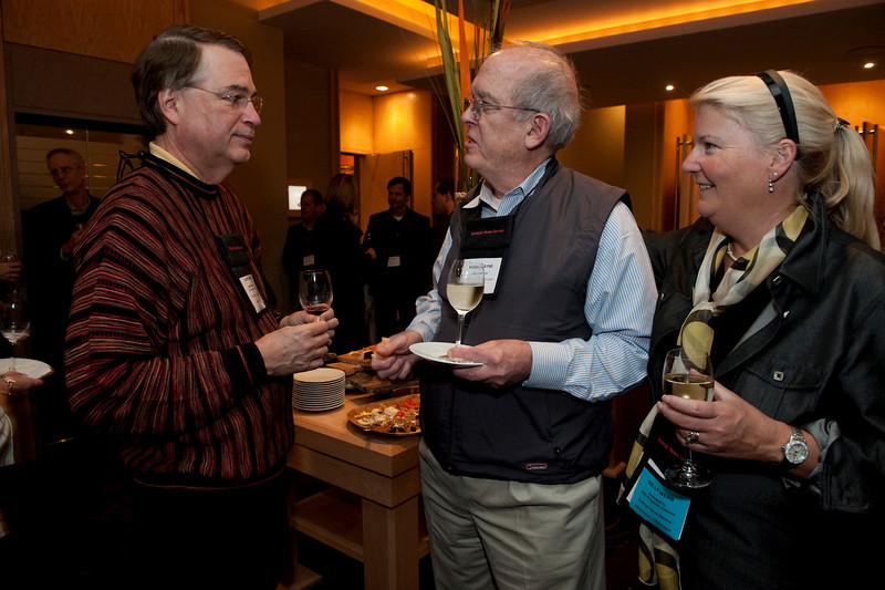 FiReStar Reception: Larry Smarr (L), Director, Calit2 Laborabory, UC San Diego and Irvine; Roger Payne, President and ary Ritner (L), Founder and President, Ocean Alliance; and Kelly Webb, Assistant to the SNS Programs Director