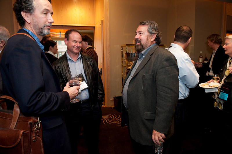 FiReStar Reception: (L-R) Dennis Adler, CTO, MetaJure; Howard Mendelsohn, President, Avitar Partners; and Mark Anderson, SNS CEO and FiRe Chair