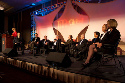 "FiReStars Panel: ""Changing the World in Eight New Ways"": (L-R) SNS Programs Director Sharon Anderson-Morris; panel host Dave Meyer, KPLU-FM; Tom Guthrie, President and CEO, Twisted Pair Solutions; John Walker, VP Sales, North America, Tesla Motors; David Achim, President and COO, SkyFiber Inc.; Kevin Surace, CEO, Serious Materials; Paul Manson, CEO, Sea Breeze Power; Yulun Wang, Chair and CEO, InTouch Health; Patrick Sullivan, CEO and President, Hoana Medical; and Nancy Stagliano, CEO, CytomX Therapeutics"