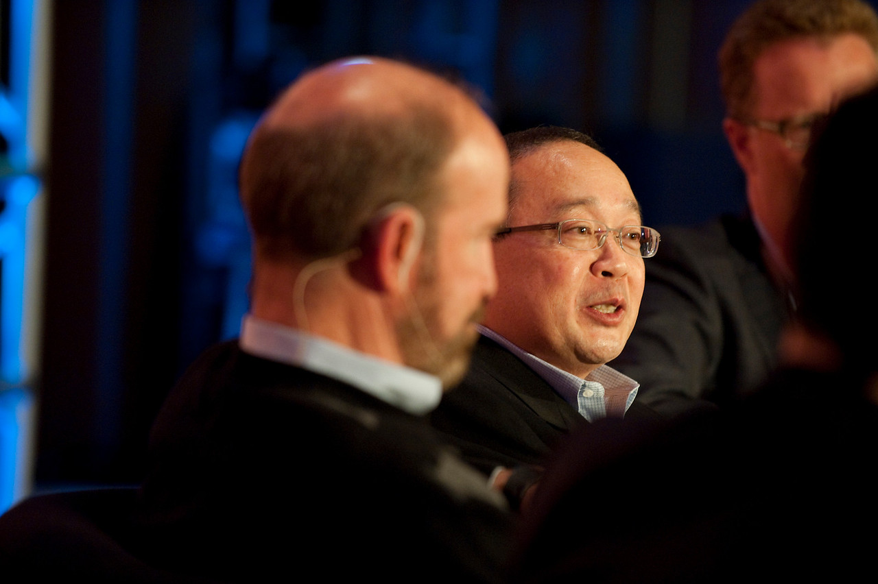 "Dinner Discussion: ""Good Ideas Need Money"": Forest Baskett (L), General Partner, New Enterprise Associates; and Mark Ashida, Partner, OVP Venture Partners"