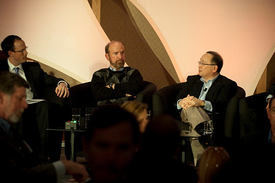 "Dinner Discussion: ""Good Ideas Need Money"": (L-R) Moderator Alan Smith, Partner, Fenwick & West; Forest Baskett, General Partner, New Enterprise Associates; and Mark Ashida, Partner, OVP Venture Partners"