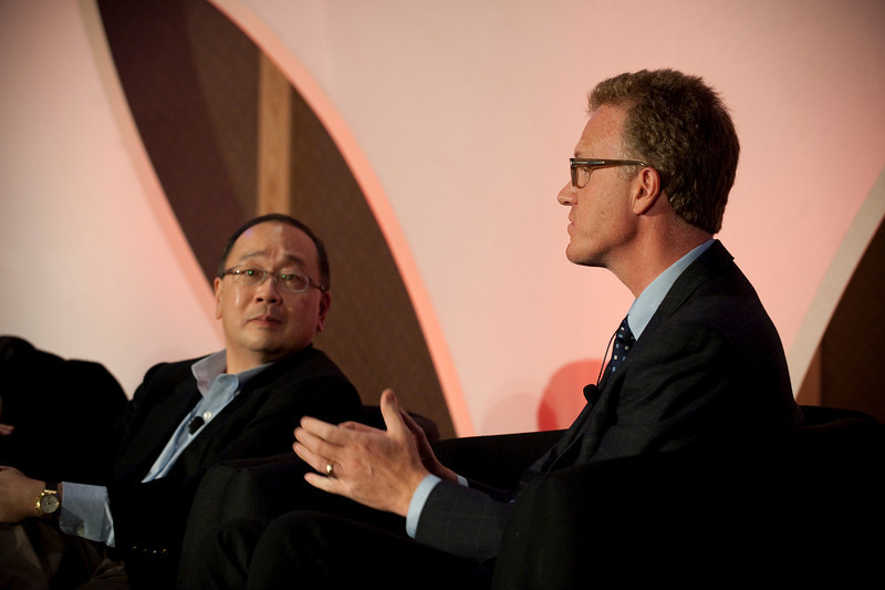 "Dinner Discussion: ""Good Ideas Need Money"": Mark Ashida (L), Partner, OVP Venture Partners; and Daniel Malarkey, Deputy Director, Washington State Department of Commerce"
