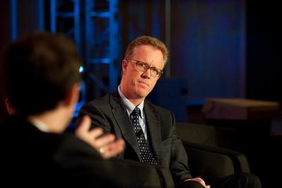 "Dinner Discussion: ""Good Ideas Need Money"": Moderator Alan Smith (L), Partner, Fenwick & West; and Daniel Malarkey, Deputy Director, Washington State Department of Commerce"