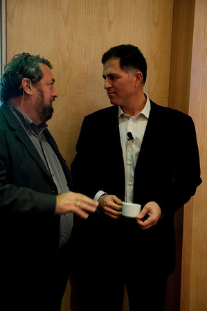 Centerpiece Speaker Michael Dell (R), Chair and CEO of Dell Inc., talks with Mark Anderson, CEO of SNS and Chair of FiRe, before getting mic'd up
