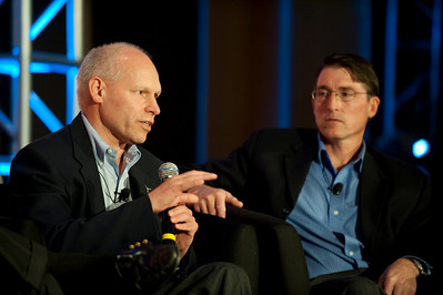"""""""How Can the Northwest Become Energy-Independent?"""": Paul Manson (L), Sea Breeze Power; and Jud Virden, CTO, Energy and Environment Directorate, Pacific Northwest National Laboratory"""