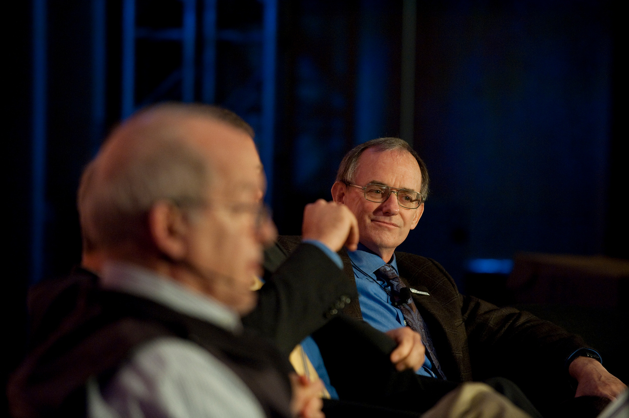 """""""Ocean Pollution, New Data"""": Roger Payne (foreground), Founder and President, Ocean Alliance; and Jeffrey Short, Pacific Science Director, Oceana"""