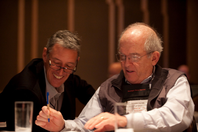 """""""Revolutionizing Education in Washington"""": Attendees Lewis Douglas (L), Managing Director, Ocean Alliance; and Roger Payne, Founder and President, Ocean Alliance"""